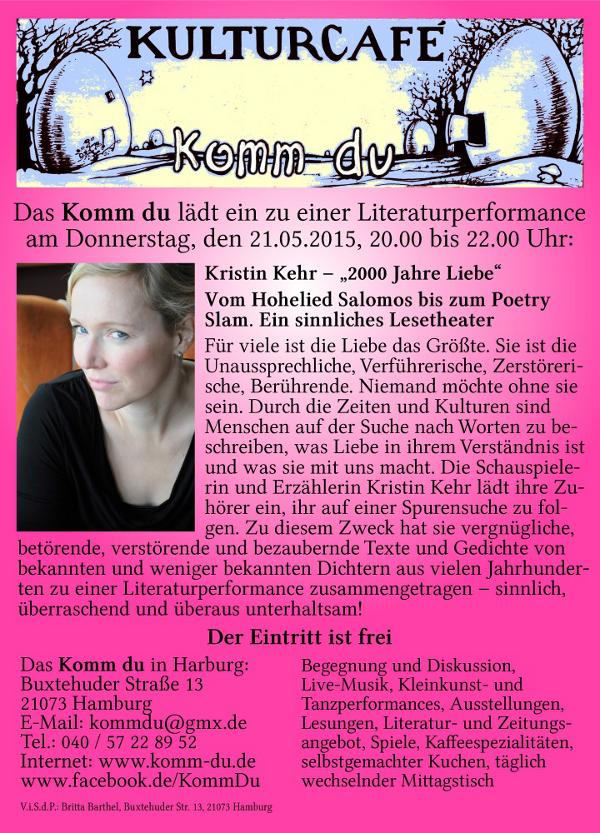 Literaturperformace im Komm-Du mit Kirstin Kehr